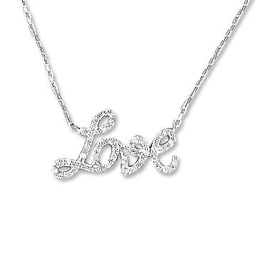 Sterling Silver Diamond Love Necklace
