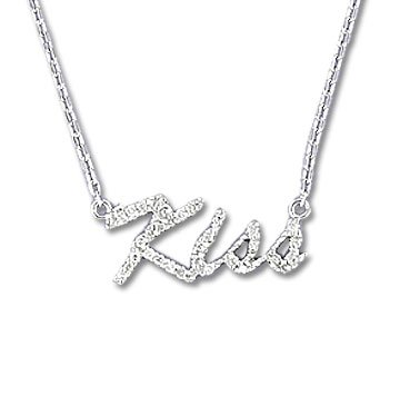 Sterling Silver Diamond Kiss Necklace