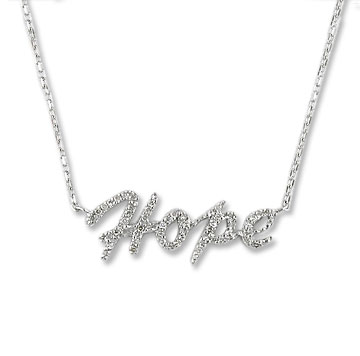 Sterling Silver Diamond Hope Necklace