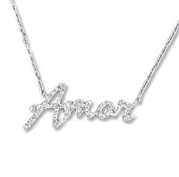 Sterling Silver Diamond Amor Necklace