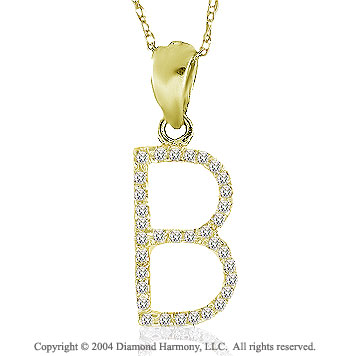"14k YG Large Casual Fun Diamond ""B"" Initial Pendant"