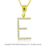 14k YG Large Casual Fun Diamond ^E^ Initial Pendant