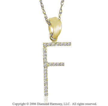 14k YG Large Casual Fun Diamond ^F^ Initial Pendant
