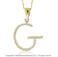 14k YG Large Casual Fun Diamond ^G^ Initial Pendant
