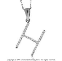 14k White Gold Large Casual Fun Diamond ^H^ Initial Pendant