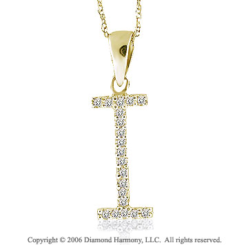 14k YG Large Casual Fun Diamond ^I^ Initial Pendant