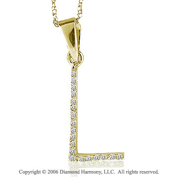 14k YG Large Casual Fun Diamond ^L^ Initial Pendant