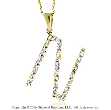 14k YG Large Casual Fun Diamond ^N^ Initial Pendant