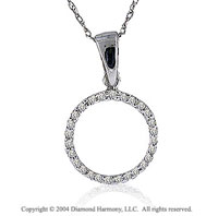 14k White Gold Large Casual Fun Diamond ^O^ Initial Pendant