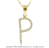 14k YG Diamond ^P^ Casual Fun Initial Pendant