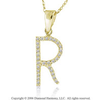 14k YG Large Casual Fun Diamond ^R^ Initial Pendant