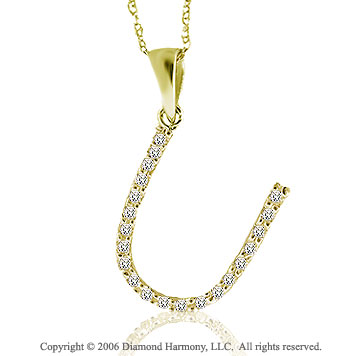 14k YG Large Casual Fun Diamond ^U^ Initial Pendant