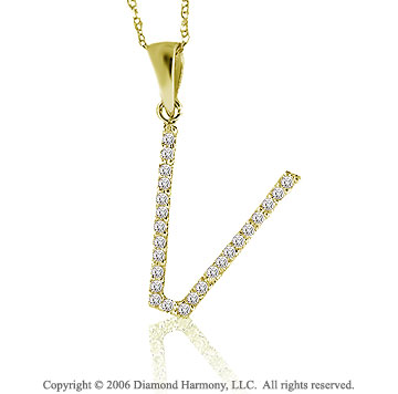 14k YG Large Casual Fun Diamond ^V^ Initial Pendant