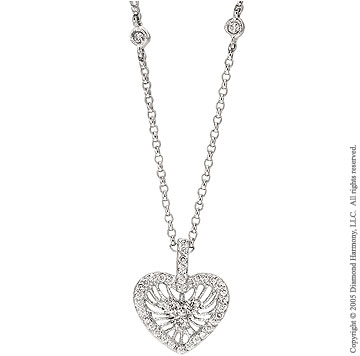14k White Gold Heart Filigree Diamond By The Yard Necklace