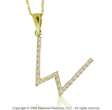 14k YG Large Casual Fun Diamond ^W^ Initial Pendant