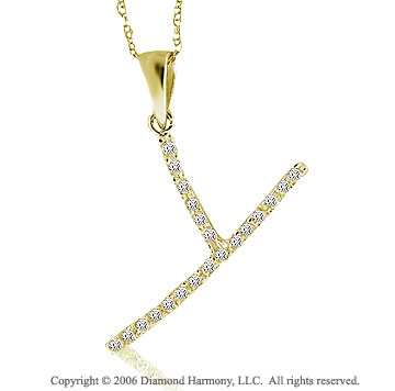 14k YG Large Casual Fun Diamond ^Y^ Initial Pendant