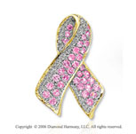 Diamond Pink Sapphire Breast Cancer Awareness Gold Pin