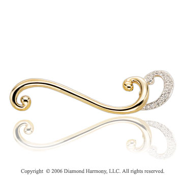 0.10 Carat Diamond Double Curve 14k Yellow Gold Pin
