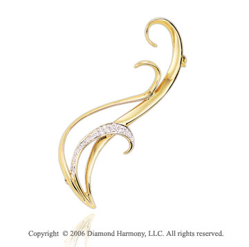 1/8 Carat Diamond Banana Peel 14k Yellow Gold Pin