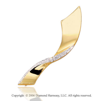 1/3 Carat Diamond Prong Sash Twist 14k Yellow Gold Pin