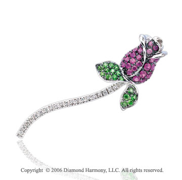 Diamond Green Garnet Pink Sapphire Flower 14k Gold Pin