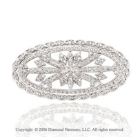 1.40 Carat Diamond Vintage Style 14k White Gold Pin