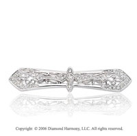 0.20 Carat Diamond Vintage Style 14k White Gold Pin
