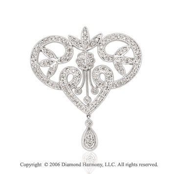 4/5 Carat Diamond Vintage Style 14k White Gold Pin
