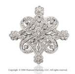 One Carat Diamond Vintage Style 14k White Gold Pin