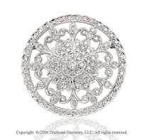 One Carat Diamond Filigree Medallion 14k White Gold Pin