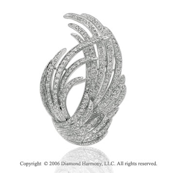 Three Carat Diamond Classic Look 14k White Gold Pin