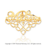 14k Yellow Gold Charming Elegant Fashion Mother Pin