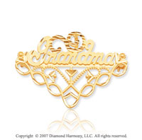 14k Yellow Gold Charming Elegant Fashion Grandma Pin
