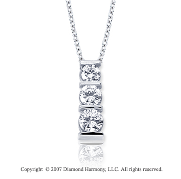 18k White Gold 3 Stone 1/2 Carat Bar Channel Diamond Pendant