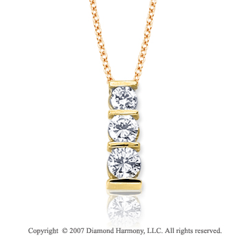 18k Y Gold 3 Stone 1/2 Carat Bar Channel Diamond Pendant