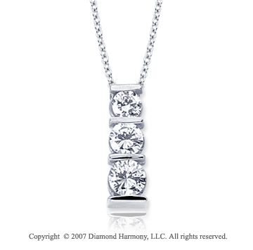 18k White Gold 3 Stone 1 Carat Bar Channel Diamond Pendant