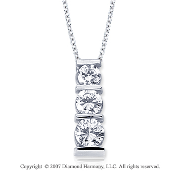 18k White Gold 3 Stone 2 Carat Bar Channel Diamond Pendant