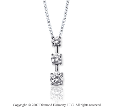 18k White Gold 3 Stone 1/3 Carat Prong Stem Diamond Pendant