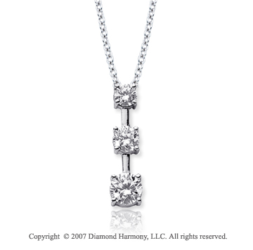 18k White Gold 3 Stone 1/2 Carat Prong Stem Diamond Pendant