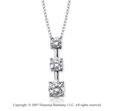 Platinum 3 Stone 3/4 Carat Prong Stem Diamond Pendant