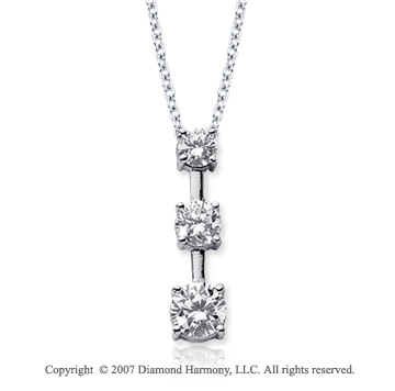 18k White Gold 3 Stone 3/4 Carat Prong Stem Diamond Pendant