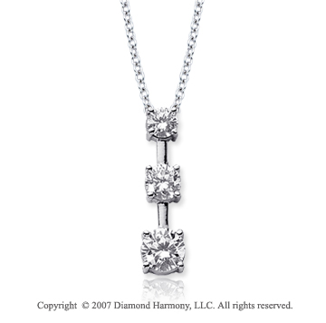 18k White Gold 3 Stone 1 Carat Prong Stem Diamond Pendant