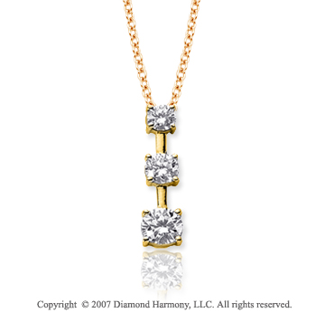 18k Yellow Gold 3 Stone 1 1/2 Carat Prong Stem Diamond Pendant