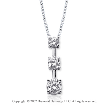 18k White Gold 3 Stone 2 Carat Prong Stem Diamond Pendant