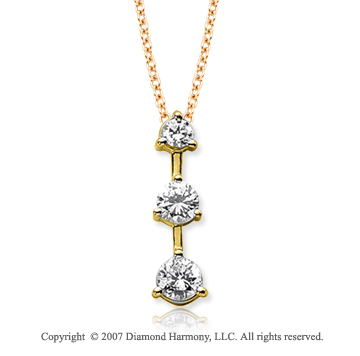 18k Y Gold 3 Stone 3/4 Carat Prong Stem Diamond Pendant