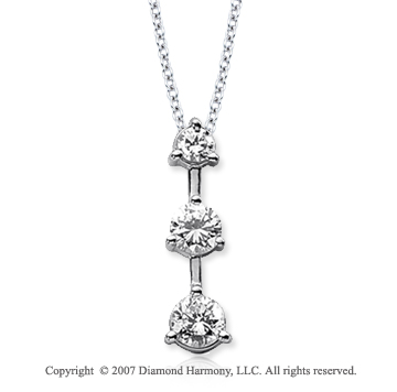 Platinum Three Stone 1.00 Carat Prong Stem Diamond Pendant