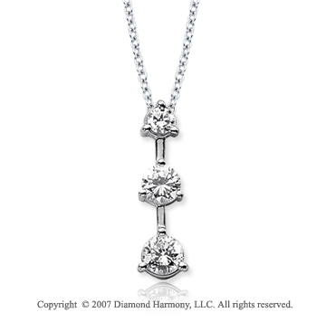 18k White Gold 3 Stone 2.00 Carat Prong Diamond Pendant