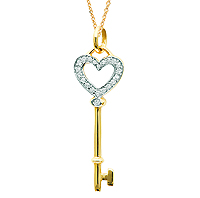 14k Yellow Gold 1/10 Carat Diamond Heart Key Pendant