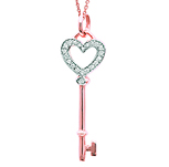 14k Rose Gold 1/10 Carat Diamond Heart Key Pendant