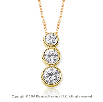 18k Yellow Gold 3 Stone 1 Carat Round Bezel Diamond Pendant
